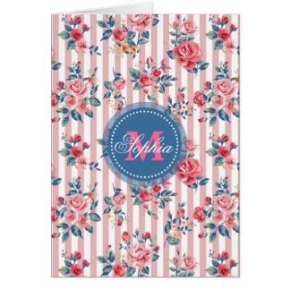 Beautiful  vintage monogram roses floral stripes greeting card
