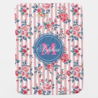Beautiful vintage monogram roses floral stripes stroller blanket