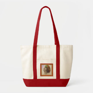 Beautiful vintage of a woman with hat tote bags