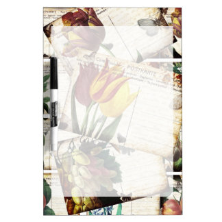 Beautiful Vintage Old Floral Postcards Design Gift Dry-Erase Whiteboards