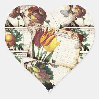 Beautiful Vintage Old Floral Postcards Design Gift Heart Sticker
