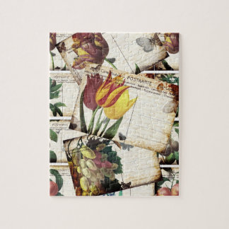 Beautiful Vintage Old Floral Postcards Design Gift Jigsaw Puzzle