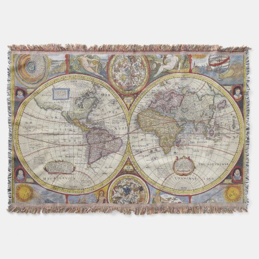 Vintage world map afghan throw zazzle vintage world map fleece antique old world map throw blanket by noteablehomegoods gumiabroncs Choice Image