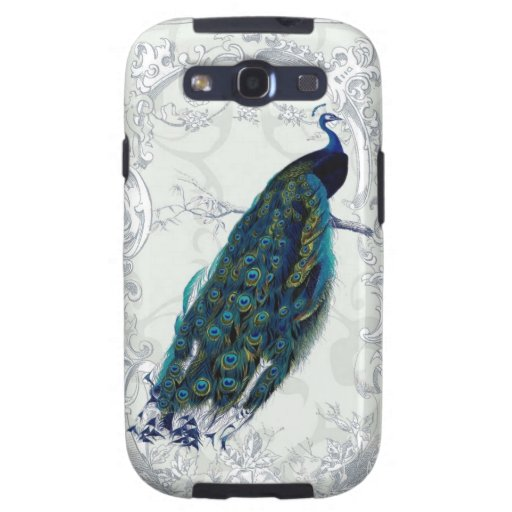 Beautiful vintage peacock art personalized galaxy SIII covers