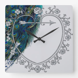 Beautiful vintage peacock art personalized square wall clock