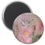 Beautiful vintage pink and blue roses and flowers 2 inch round magnet