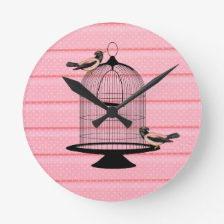 beautiful vintage pink birds cage cute polka dot wallclock