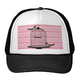 beautiful vintage pink birds cage cute polka dot trucker hat