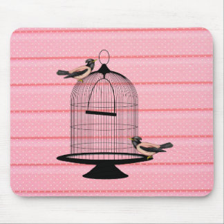 beautiful vintage pink birds cage cute polka dot mouse pad