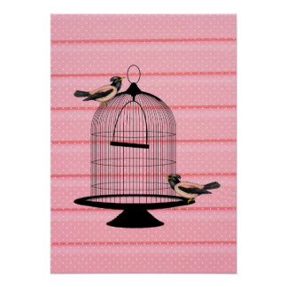 beautiful vintage pink birds & cage cute polka dot poster