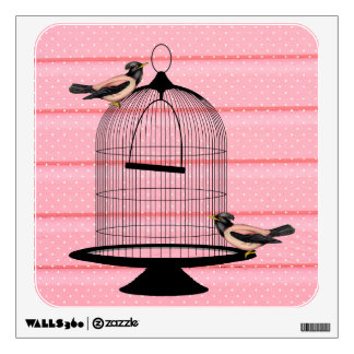 beautiful vintage pink birds & cage cute polka dot wall decal