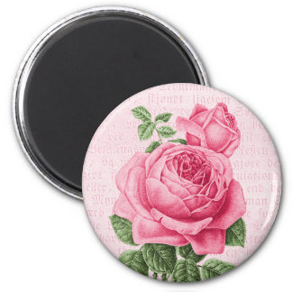 Beautiful vintage pink rose 2 inch round magnet