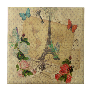 Beautiful vintage post cards collage Eiffel tower Ceramic Tile