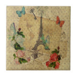 Beautiful vintage post cards collage Eiffel tower Ceramic Tiles