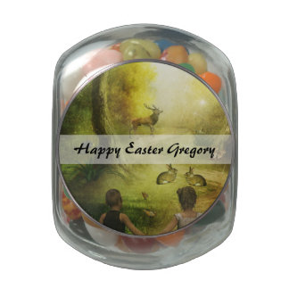 Beautiful Vintage Rabbit Woodland Scene Easter Jelly Belly Candy Jar