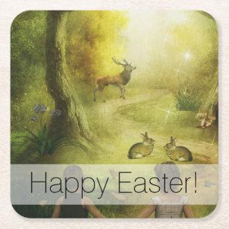 Beautiful Vintage Rabbit Woodland Scene Easter Square Paper Coaster