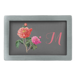 beautiful vintage red and pink rose flowers belt buckle