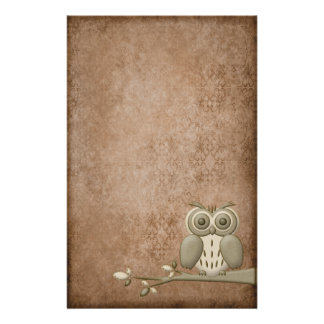 Beautiful Vintage Retro Owl Stationery
