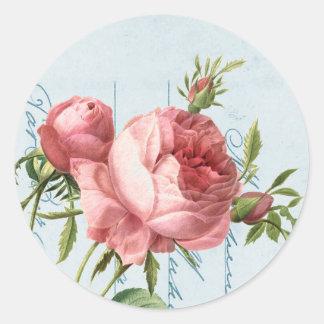 Beautiful vintage rose classic round sticker