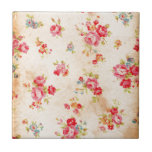 "Beautiful vintage roses and other flowers ceramic tile<br><div class=""desc"">Beautiful vintage roses and other flowers pink blue green cream wallpaper image</div>"