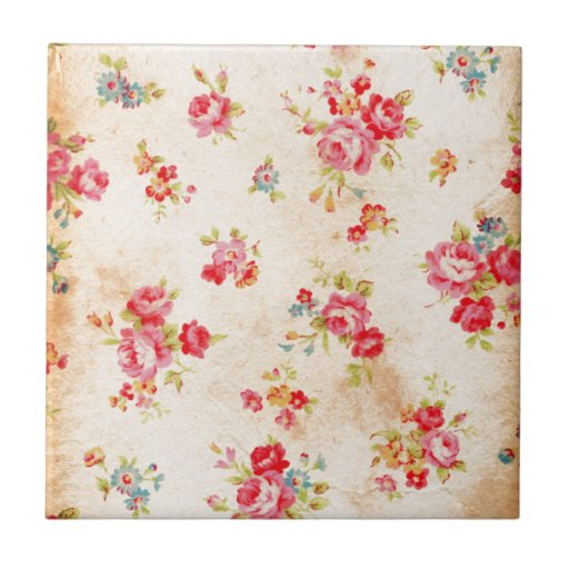 Beautiful vintage roses and other flowers ceramic tile ...