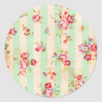 Beautiful vintage roses and other flowers classic round sticker