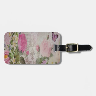 Beautiful vintage roses butterfly fleur de lis luggage tag