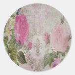 Beautiful vintage roses butterfly fleur de lis classic round sticker