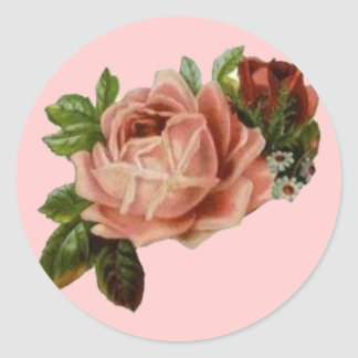 Beautiful Vintage Roses Classic Round Sticker