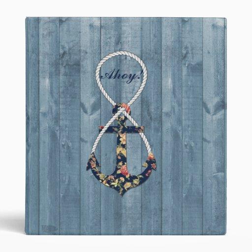 Beautiful vintage roses floral anchor infinity vinyl binder