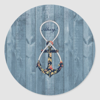 Beautiful vintage roses  floral anchor infinity classic round sticker