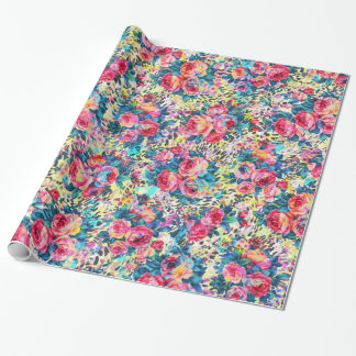 Beautiful vintage roses floral watercolors leopard gift wrap paper