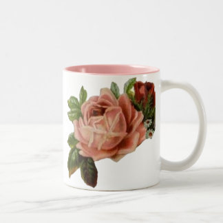 Beautiful Vintage Roses Two-Tone Coffee Mug
