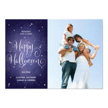 Halloween Themed Beautiful Vintage Stars Blue Halloween Photo Card