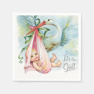 Beautiful Vintage Stork Baby Girl Shower Paper Napkin