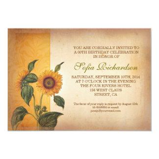 beautiful vintage sunflowers birthday invitations
