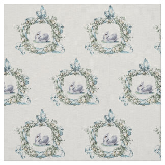Beautiful vintage swan in delicate wreath design fabric