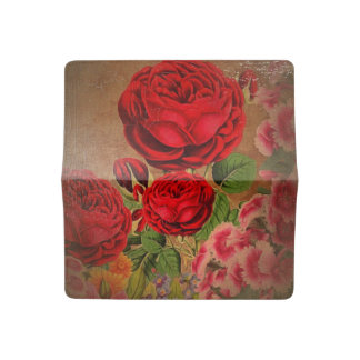 Beautiful Vintage Textured Rose Checkbook Cover