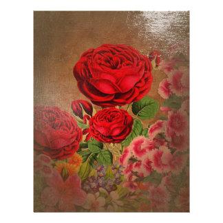 Beautiful Vintage Textured Rose Letterhead