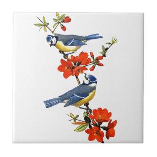 Beautiful vintage tree blossom red flowers birds ceramic tile