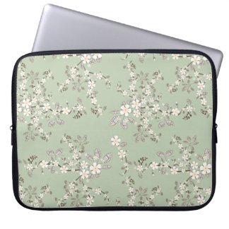 Beautiful vintage tree blossom white flowers laptop sleeve