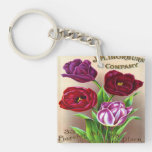 Beautiful Vintage Tulips Single-Sided Square Acrylic Keychain
