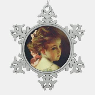 Beautiful Vintage Updo Hairdo Little Girl Snowflake Pewter Christmas Ornament