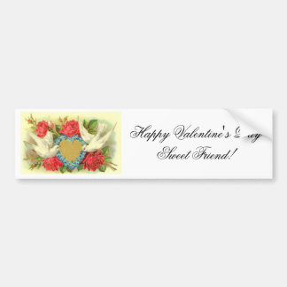 Beautiful Vintage Valentine Doves & Roses Car Bumper Sticker