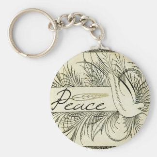 Beautiful Vintage white dove surrounded by foliage Keychain