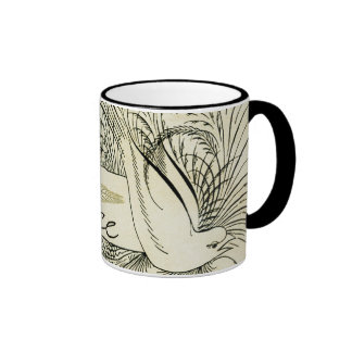 Beautiful Vintage white dove surrounded by foliage Ringer Coffee Mug