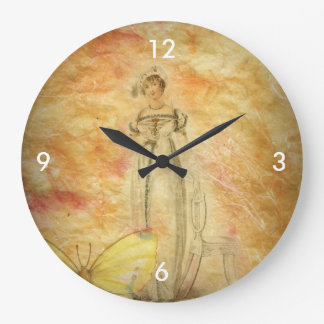 Beautiful Vintage Woman Butterfly Large Clock