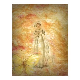 Beautiful Vintage Woman Butterfly Letterhead