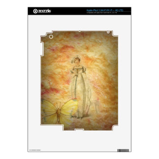 Beautiful Vintage Woman Butterfly Skins For iPad 3