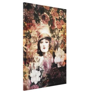 Beautiful Vintage Woman Flower Abstract Canvas Print